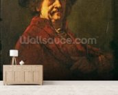 Copy of a Rembrandt Self Portrait, 1869 (oil on canvas) wall mural living room preview