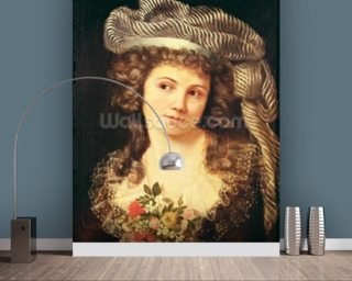 Portrait of a young woman in the style of Labille-Guiard (oil on canvas) wallpaper mural