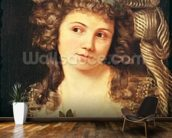 Portrait of a young woman in the style of Labille-Guiard (oil on canvas) wallpaper mural kitchen preview