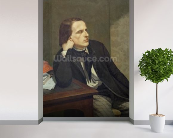 Portrait of Paul Ansout, 1844 (oil on canvas) wallpaper mural room setting
