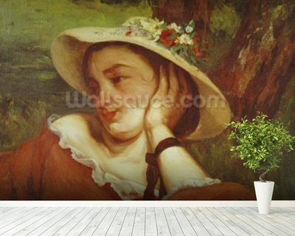 Woman in a Straw Hat with Flowers, c.1857 (oil on canvas) mural wallpaper room setting
