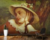 Woman in a Straw Hat with Flowers, c.1857 (oil on canvas) mural wallpaper kitchen preview
