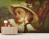 Woman in a Straw Hat with Flowers, c.1857 (oil on canvas) mural wallpaper living room preview