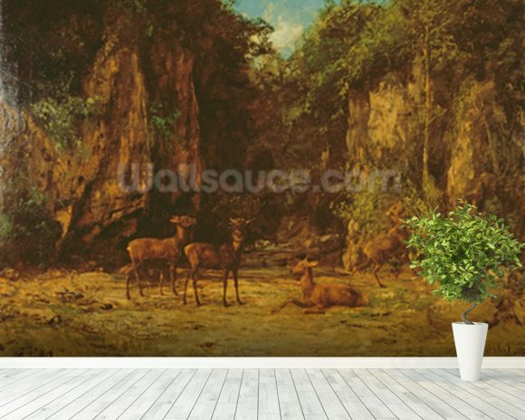 Herd of Red Deer at Dusk (oil on canvas) mural wallpaper room setting