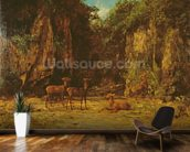 Herd of Red Deer at Dusk (oil on canvas) mural wallpaper kitchen preview