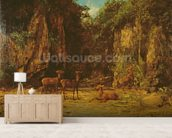 Herd of Red Deer at Dusk (oil on canvas) mural wallpaper living room preview
