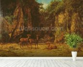 Herd of Red Deer at Dusk (oil on canvas) mural wallpaper in-room view
