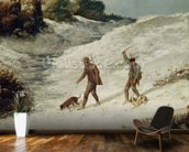 Hunters in the Snow or The Poachers (oil on canvas) wallpaper mural kitchen preview
