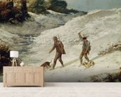Hunters in the Snow or The Poachers (oil on canvas) wallpaper mural living room preview