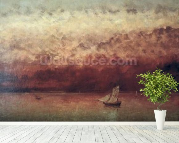 Lake Leman with Setting Sun, c.1876 (oil on canvas) wallpaper mural room setting