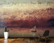 Lake Leman with Setting Sun, c.1876 (oil on canvas) wallpaper mural kitchen preview