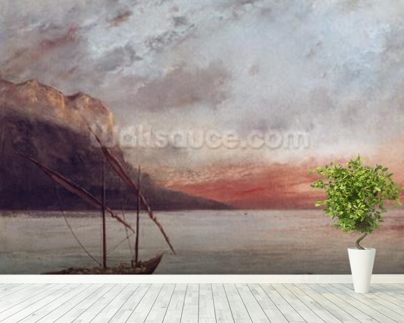 Sunset over Lake Leman, 1874 (oil on canvas) wall mural room setting