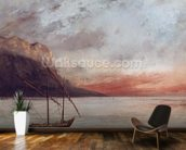 Sunset over Lake Leman, 1874 (oil on canvas) wall mural kitchen preview