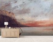 Sunset over Lake Leman, 1874 (oil on canvas) wall mural living room preview