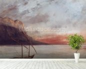 Sunset over Lake Leman, 1874 (oil on canvas) wall mural in-room view