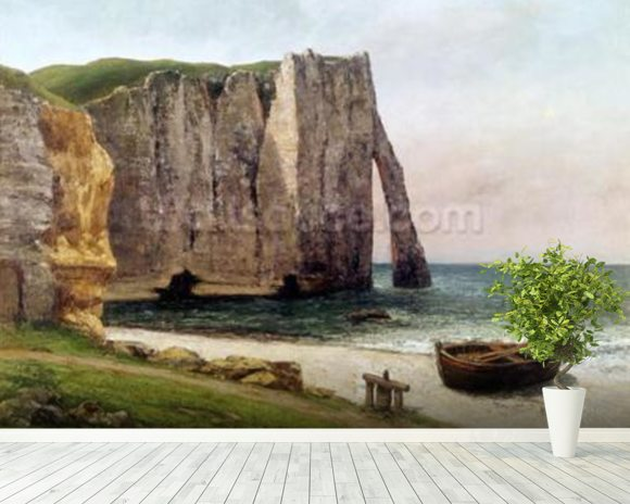 The Cliffs at Etretat, 1869 (oil on canvas) wallpaper mural room setting