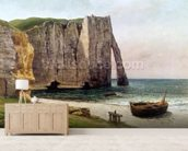The Cliffs at Etretat, 1869 (oil on canvas) wallpaper mural living room preview