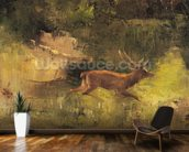 Stag Running through a Wood, c.1865 (oil on canvas) wall mural kitchen preview
