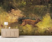 Stag Running through a Wood, c.1865 (oil on canvas) wall mural living room preview