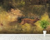 Stag Running through a Wood, c.1865 (oil on canvas) wall mural in-room view