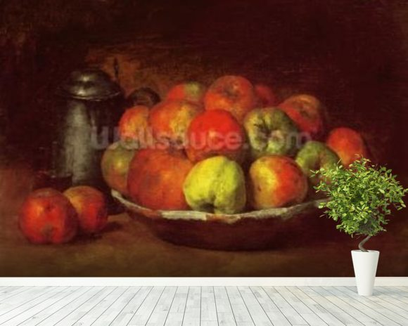 Still Life with Apples and a Pomegranate, 1871-72 (oil on canvas) mural wallpaper room setting