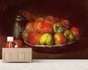 Still Life with Apples and a Pomegranate, 1871-72 (oil on canvas) mural wallpaper living room preview