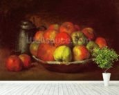 Still Life with Apples and a Pomegranate, 1871-72 (oil on canvas) mural wallpaper in-room view