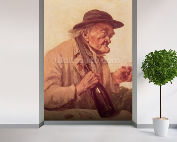 Old Man with a glass of wine wall mural room setting