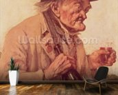 Old Man with a glass of wine wall mural kitchen preview