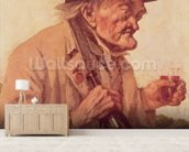 Old Man with a glass of wine wall mural living room preview