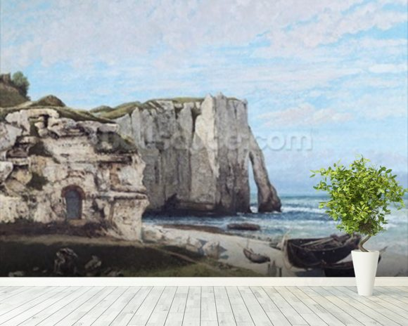 The Cliffs at Etretat after the storm, 1870 (oil on canvas) wallpaper mural room setting