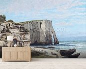 The Cliffs at Etretat after the storm, 1870 (oil on canvas) wallpaper mural living room preview