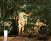 Les Baigneuses, 1853 (oil on canvas) wallpaper mural kitchen preview