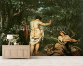 Les Baigneuses, 1853 (oil on canvas) wallpaper mural living room preview
