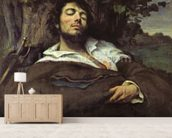 The Wounded Man (oil on canvas) (self portrait) mural wallpaper living room preview