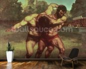 The Wrestlers, 1853 wallpaper mural kitchen preview