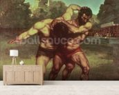 The Wrestlers, 1853 wallpaper mural living room preview
