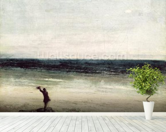 The Artist on the Seashore at Palavas (oil on canvas) mural wallpaper room setting
