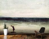 The Artist on the Seashore at Palavas (oil on canvas) mural wallpaper kitchen preview