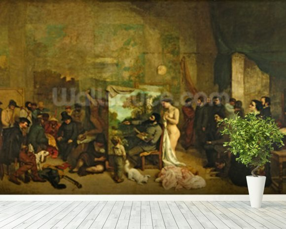 The Studio of the Painter, a Real Allegory, 1855 (oil on canvas) wall mural room setting
