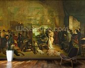 The Studio of the Painter, a Real Allegory, 1855 (oil on canvas) wall mural kitchen preview