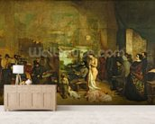 The Studio of the Painter, a Real Allegory, 1855 (oil on canvas) wall mural living room preview
