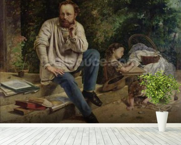 Pierre Joseph Proudhon (1809-65) and his children in 1853, 1865 (oil on canvas) (see 99577 for detail) wallpaper mural room setting