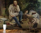 Pierre Joseph Proudhon (1809-65) and his children in 1853, 1865 (oil on canvas) (see 99577 for detail) wallpaper mural kitchen preview