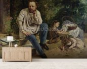 Pierre Joseph Proudhon (1809-65) and his children in 1853, 1865 (oil on canvas) (see 99577 for detail) wallpaper mural living room preview