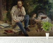 Pierre Joseph Proudhon (1809-65) and his children in 1853, 1865 (oil on canvas) (see 99577 for detail) wallpaper mural in-room view