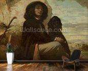 Courbet with his Black Dog, 1842 (oil on canvas) mural wallpaper kitchen preview