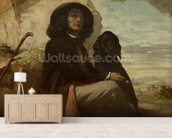 Courbet with his Black Dog, 1842 (oil on canvas) mural wallpaper living room preview