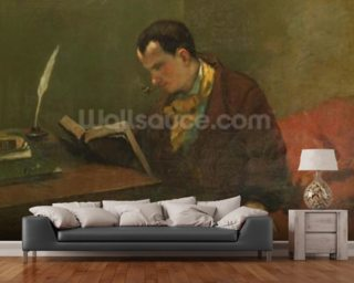 Portrait of Charles Baudelaire (1821-67) 1847 (oil on canvas) wallpaper mural