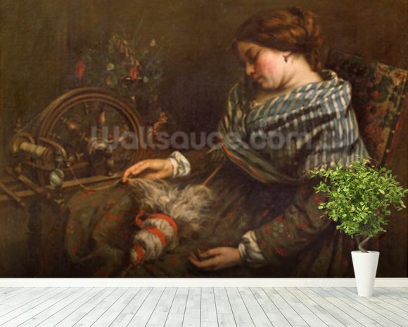The Sleeping Embroiderer, 1853 (oil on canvas) mural wallpaper room setting